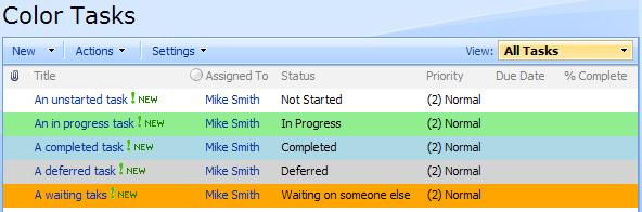 Color coded SharePoint task list